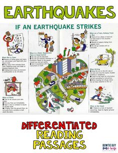 Earthquakes Differentiated Nonfiction Reading Passages Structure Of The Earth, 5th Grade Social Studies, Guided Reading Levels, Vocabulary Games, Differentiated Instruction, Reading Passages, Volcanoes, Science Lessons, Differentiation