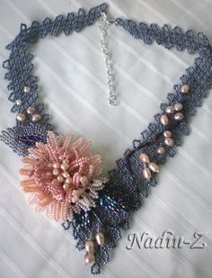 """Set """"Flowers"""" Necklace. Czech and Japanese seed beads, Czech glass beads, freshwater pearls"""