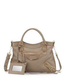 Edge Town AJ Goatskin Satchel Bag, Taupe by Balenciaga at Neiman Marcus. Satchel Bag, Crossbody Bag, Tote Bag, Unique Handbags, Suede Handbags, Leather Clutch Bags, Leather Satchel, Balenciaga City Bag, Pebbled Leather