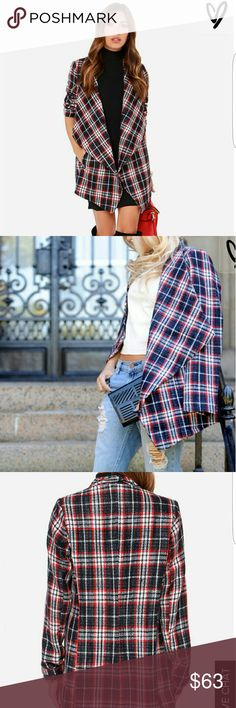 """Navy Blue Plaid Coat As Seen On Lauren of Fashionably Lo blog and Andrea of Blonde Bedhead blog! If you're a plaid fanatic, then we can't wait until you slip into the Hazel Check Lust Navy Blue Plaid Coat! Dark navy blue, red, and off white create a chic design over this woven tweed-like coat, that has wide draping lapels and an open front design. Oversized bodice has two vertical welted pockets at front. Fully lined in navy blue sateen. Model is 5'7"""" and is wearing a size small. Coat…"""