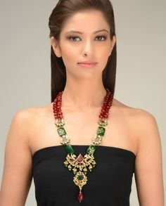 Dual Strand Red Beaded Necklace with Kundan Design by Just Jewellery