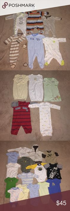 BABY BOY'S LOT OF 26. SIZES NB 0-3 And 3 MONTHS Good Condition. No Bundling On This Listing. Pants Onesies Sleepers Tops And Gowns.  Please Read Listing And View Pictures Before You Purchase Items. LISTING IS FOR THE ABOVE  ITEMS. Carter's And More Shirts & Tops