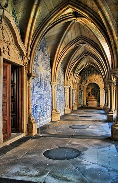 Portugal - Porto - Cloisters of the \'Sé\' by _madmarx_ I'd Like to go to Portu. Visit Portugal, Portugal Travel, Spain And Portugal, Places To Travel, Places To See, Architecture Antique, Voyage Europe, Douro, Kirchen