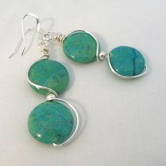 Turquoise Earrings Wire Wrapped Jasper Gemstone Sterling Silver Ear Wires