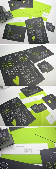 wedding invites - lime green/black - Click image to find more hot Pinterest pins