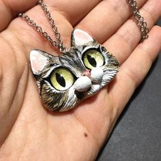 Kitty Pendant OOAK Polymer Clay Cat Necklace by FleurDeLapin on Etsy