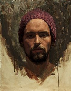 A self portrait by artist Zachery Elletson. #portraitpainting found on the FASO Daily Art Show - http://dailyartshow.faso.com