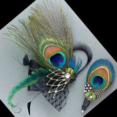 Feather Headpiece, Bridal Fascinator, Peacock Hairclip - SIENNA PLUTO