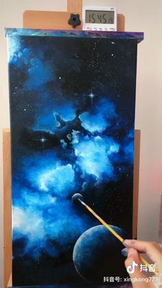 - Galaxy Painting - Step By Step Acrylic Painting Tutorial Small Canvas Art, Mini Canvas Art, Canvas Painting Tutorials, Painting Videos, Easy Paintings, Beautiful Paintings, Acrylic Art, Galaxy Painting Acrylic, Acrylic Paintings