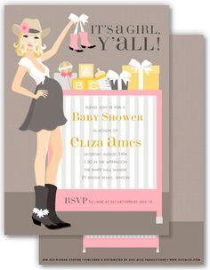 Cowgirl Crib Pink Blonde Baby Shower Invitation