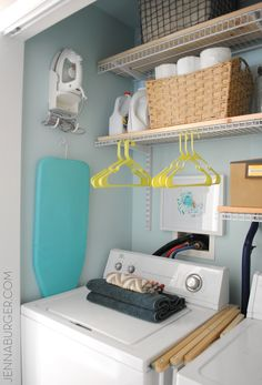 """LAUNDRY ROOM (closet) REVAMP in one weekend!  New paint, More storage, and Pops of color!  All for about $150.  This laundry """"closet"""" is now 100% functional & pretty on the eyes.  Before & After by Jenna Burger Design, www.jennaburger.com"""