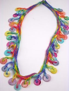 Muscatine Button Necklace Crocheted on Colorful Wool:  Muscatine Vintage Button Necklace Crocheted on Colorful Variegated Wool  Price: $60