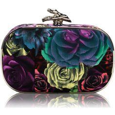 Jessica McClintock Floral Minaudiere Purse ❤ liked on Polyvore