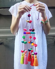 another 👀 at my latest diy wi Diy Arts And Crafts, Crafts For Kids, Diy Crafts, Pom Pom Crafts, Yarn Crafts, Vitrine Design, Diy Chandelier, Love Craft, Crochet