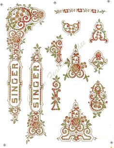 Transfers for Singer 27 Tiffany design treadle sewing machine