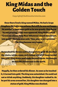 This is an amazing short bedtime story for kids. Full story in the link above, read now. Good Bedtime Stories, King Midas, Short Stories For Kids, Teaching, Writing, Education, Link, Amazing, Composition