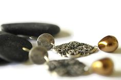 Dangle  filigree earrings Ethnic earrings Silver by UneDemiLune
