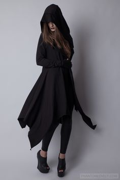 Image of DARKNESS Hooded Organic Jersey Draped Cardigan Cloak with Thumbhole Sleeves