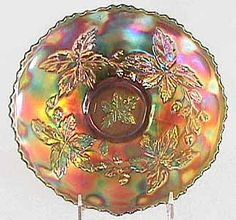 Autumn Acorn - This 9-inch green plate sold at the 2003 International Carnival Glass Association auction for $1100.00.