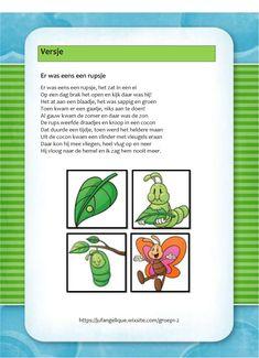 Versje: Er was eens een rupsje Eric Carle, Caterpillar, School Projects, Butterfly, Classroom, Letters, Fruit, The Fruit, Butterflies