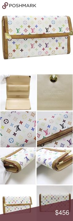 "Louis Vuitton Wallet Pre owned authentic Louis Vuitton Tresor Wallet. White multi color canvas design. Size W 7.5"" H 4.1"" D 0.8"". Gold hardware canvas is Monogram Multicolor. Product number is M92658. Serial number is TH0055. Retail price $1250. Trifold wallet. Line name Porte Tresor International. Louis Vuitton Bags Wallets"