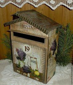 """Купить Почтовый ящик """"Прованс"""" - бежевый, почтовый ящик, почтовый ящик декупаж, лаванда, прованс"""