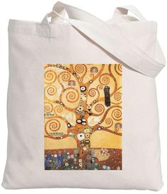 Eco-friendly Organic Cotton Iron On Transfer Tote Bag The Tree Of Life/ Gustav Klimt / Famous Painters Natural Bag Iron On Transfer, Gustav Klimt, Cotton Tote Bags, Besties, Organic Cotton, Eco Friendly, Painters, Unique Jewelry, Handmade Gifts