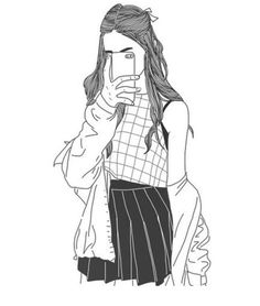 Art girl drawing shared by Mielletanne✿ on We Heart It Tumblr Girl Drawing, Tumblr Drawings, Tumblr Art, Cute Drawings Of Girls, Hipster Drawings, Tumblr Outline, Outline Art, Outline Drawings, Girl Outlines