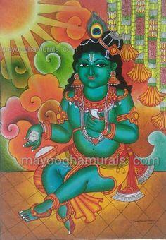 Mayoogha Mural Painting arts gallery is online art gallery-Guruvayoor is an innovative initiative by Mural artist Sastrasarman Prasad. Bal Krishna, Krishna Art, Kerala Mural Painting, Painting Art, Paintings, Mural Art, Murals, Indian Folk Art, Krishna Painting