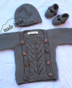 FULL SET baby grey knit cardigan jumper/ sweater set with booties & beanie all with matching wooden buttons gender neutral Newborn gift set on Etsy, $58.36