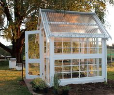 Helen Williams' greenhouse made from recycled French doors - All For Garden Diy Greenhouse Plans, Backyard Greenhouse, Small Greenhouse, Backyard Landscaping, Old Window Greenhouse, Portable Greenhouse, Design Jardin, Garden Design, Recycled Door
