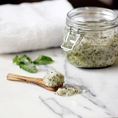 Coconut Mint Body Scrub | Spoonful ~ Sugar, Coconut Oil, and Mint Leaves.  Store in a tightly sealed glass jar for up to a month.