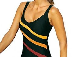 La Isla Women's Striped Print Slimming One Piece Swimsuit Swimwear Highly Recommended! One piece swimsuit with 3 contrasting Swimwear Uk, Swimsuits, Swim Shop, Childrens Shoes, Stripe Print, One Piece Swimsuit, Tankini, Ideias Fashion, Athletic Tank Tops