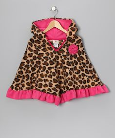 Hot Pink Leopard Poncho - Infant, Toddler & Girls. A snap to get on a busy toddler, and a perfect replacement for a bulky winter coat when you are running to the car. When the weather brings a bristly breeze, this hooded poncho plays a perfect companion to any ensemble. Fleecy-soft and fancifully fun, this number features ruffle trim for precious poise.