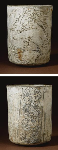 A MAYA INCISED GRAYWARE VESSEL,  LATE CLASSIC, CA. A.D. 550-950  crisply incised with a Hero Twin, seated crosslegged and gesturing with the right hand, wearing a jade bead necklace, loincloth and net turban with plumes in front nibbled by a bird, with a column of four glyphs on the reverse of general Initial glyph style; with remains of resist decoration against the light slip.  height 4 7/8 in. 12.3 cm