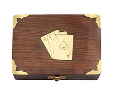 Classic Wooden Playing Cards Holder Double Deck Case Storage Box with Brass Ace Design Family Card Game Poker Table Accessories #Classic #Wooden #Playing #Cards #Holder #Double #Deck #Case #Storage #with #Brass #Design #Family #Card #Game #Poker #Table #Accessories