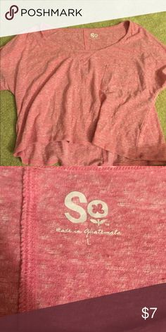 Hardly worn- pink crop top Very comfy and cute. Has a little pocket and is cropped SO Tops Crop Tops