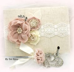 Wedding Guest Book and Pen Set Large Shabby Chic por SolBijou