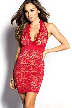 Red Plunging Lace Halter Mini Dress Material  polyester and spandex Brand  new without tags I m able to ship out next day. Prices are negotiable so  please ... 82bd2f8c7