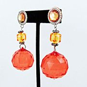 Vintage Funky  Faceted Acrylic Ball Earrings