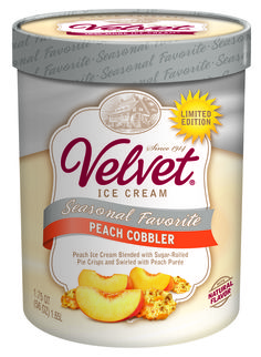 Velvet Ice Cream's Peach Cobbler -- Peach Ice Cream Blended with Sugar- Rolled Pie Crisps and Swirled with Peach Puree -- Made in Ohio