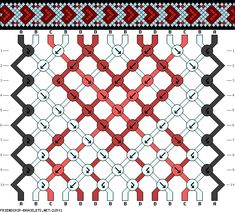 Friendship bracelet - pattern 22501 - 14 strings 4 colours - Red hearts on blue
