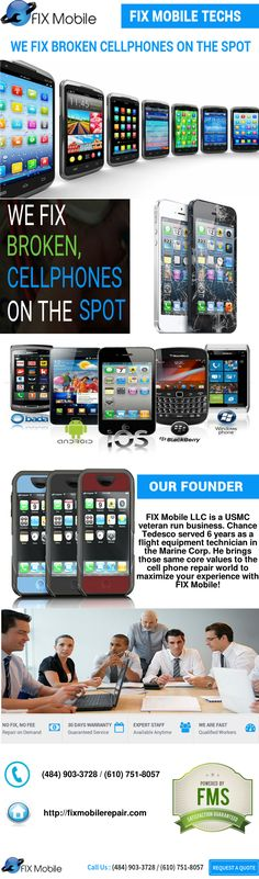 FIX Mobile LLC is a USMC veteran run business. Chance Tedesco served 6 years as a flight equipment technician in the Marine Corp. He brings those same core values to the cell phone repair world to maximize your experience with FIX Mobile! http://fixmobilerepair.com/