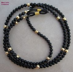 Black onyx and gold eyeglass chain holder for reading glasses. Black onyx and gold eyeglass chain holder for reading glasses. Beaded Jewelry Designs, Eyeglass Holder, Imitation Jewelry, Reading Glasses, Black Onyx, Eyeglasses, Gold, Chains, Jewellery Project
