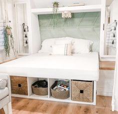 Light and bright RV decor Travel Trailer Remodel, Travel Trailers, Rv Life, Entryway Bench, Bedroom, Storage, Furniture, Gypsy Soul, Home Decor