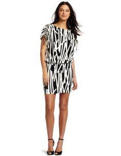 Amazon.com: London Times Women's Matchstick Printed Blouson Dress: Clothing