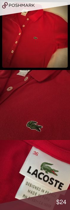 "Lacoste Women's iconic Red Polo Shirt 4/Small/36 Red ""alligator shirt"" in preppy classic iconic pique polo. EUC. Not faded. Perfect. Tennis, golf or around town with shorts or skinny jeans. Authentic. Ladies. NON SMOKING TOP SELLER, ships next day. Size slim small 36 or like a 4 - typical small or even leans xs as Lacoste run small. Lacoste Tops Button Down Shirts"
