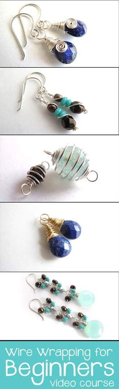 Learn all these designs and MORE with Wire Wrapping for Beginners (online video course). Learn popular jewelry making techniques from scratch from a professional jewelry designer! 40+ video lessons, lifetime access. Click for more info! http://academy.jewelrytutorialhq.com/courses/wire-wrapping-for-beginners