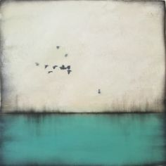 """Above turquoise "" series #3 10x10"" encaustic artwork"