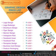We design for India's most desirable brands. We make sure you get what is best for your brand. We have years of experience in providing industry-specific graphic design services to support brands. Sales E-mail:- sales@crystaltechservices.com Contact E-mail:- contact@crystaltechservices.com Whatsapp or Call:- +91 9826067554 +91 9753349215 Website:- www.crystaltechservices.com Banner Design, Flyer Design, Logo Design, Business Card Design, Business Cards, It Service Provider, Graphic Design Services, Instagram Posts, Website